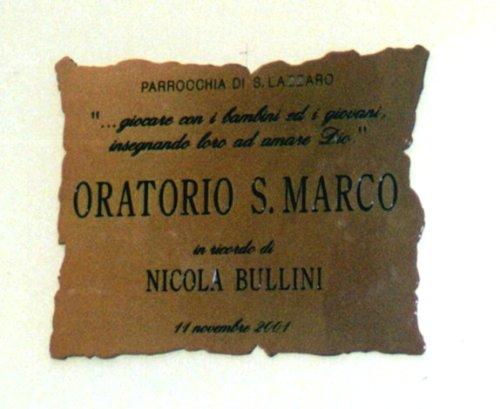 In ricordo di Nicola tutti invitati all'Oratorio di S. Marco