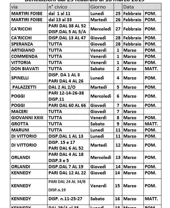 Benedizioni Pasquali dal 25 febbraio al 28 marzo 2019 e recuperi