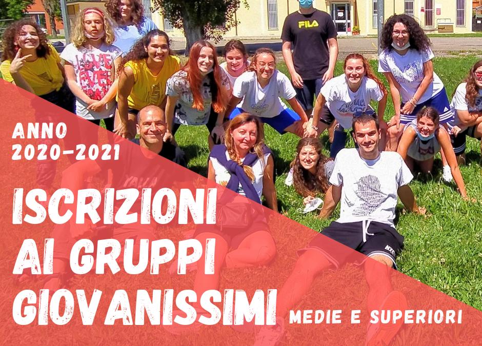 Iscrizioni ai gruppi di giovanissimi 2020-2021